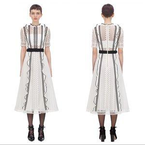 Self Portrait Monochrome Lace Frilled Midi Dress